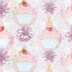 strawberry cupcake collage