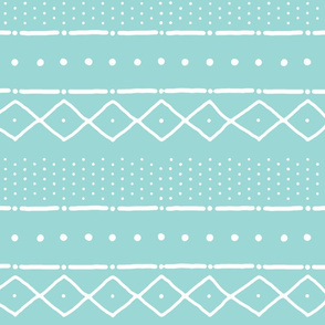 Mudcloth II (Petite) in white on turquoise