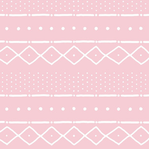 Mudcloth II (Petite) in white on pink
