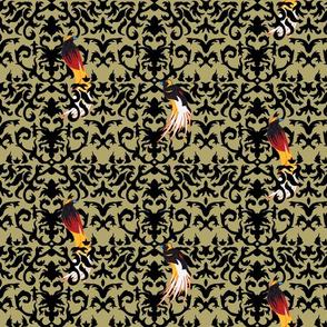Birds of Paradise Damask Gold and Black