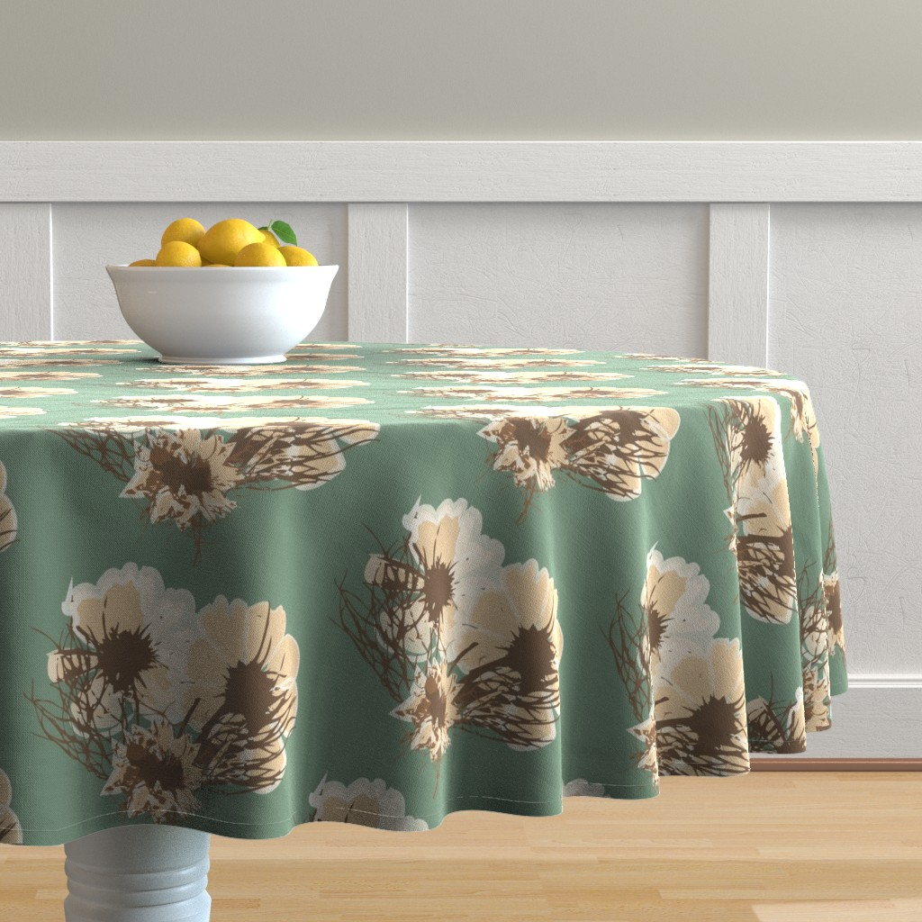 Malay Round Tablecloth featuring Dried Floral by samndrsn