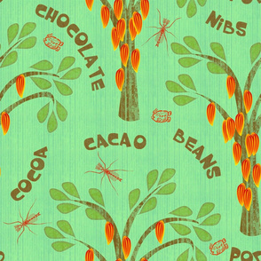 Cacao Trees with Midges and Mayan Glyph for Ka-kaw - tropic green