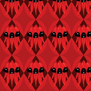 Sturt Desert Pea - red on red