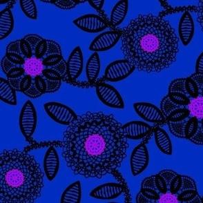 lace floral - cobalt