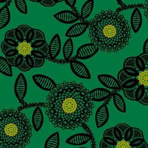 lace floral - emerald
