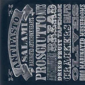 Antipasto Tea Towel || food kitchen Italian tuscan diy cut and sew home goods decor typography menu recipe chalk chalkboard lettering
