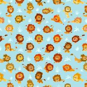 Kawaii Little Lions Light Blue by Cheerful Madness!!
