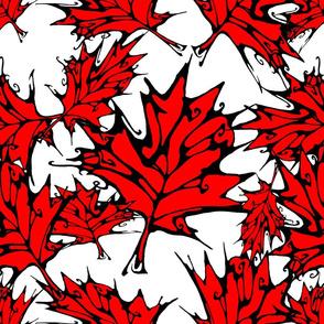Inkblot Red Maple Leaves