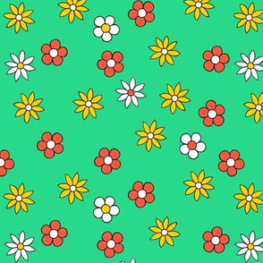 tiny flowers - green