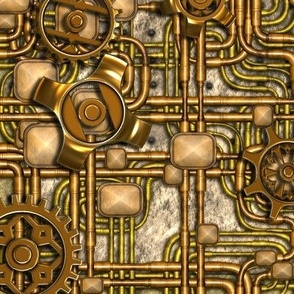 Steampunk Panel - Gears and Pipes - Brass