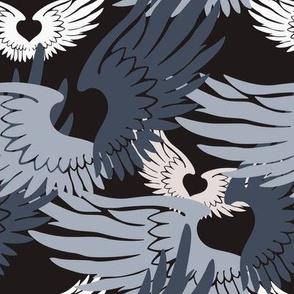 Camo Heartwings II: Silvery Grays & Beige on Dark Gray