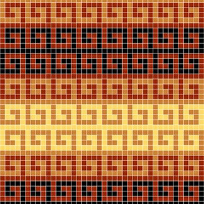 01322760 : greek key mosaic stripe : terracotta