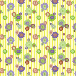 Splash Flowers Yellow Strips