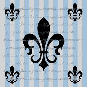 Fleur de Lis Stripe Blue Gray Gray with Text