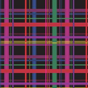 Rainbow Ribbon Plaid Black