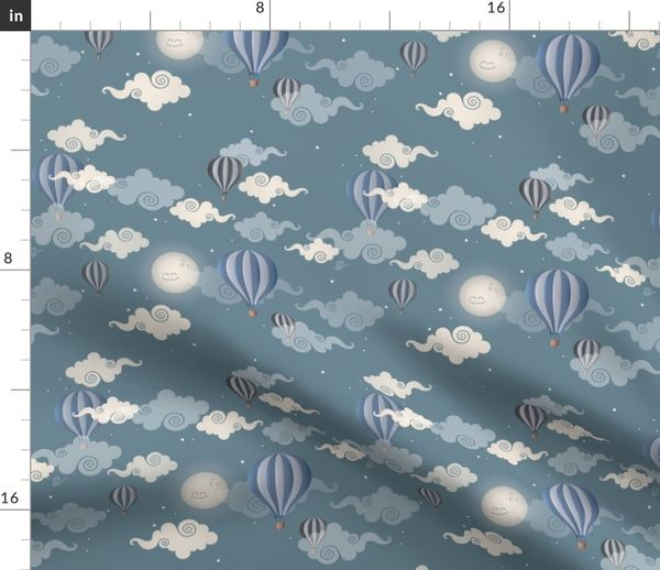 Stoff-Meterware Junge, Baby, Wolken, Kinderzimmer, blau, Mond, Kinder,  glücklich