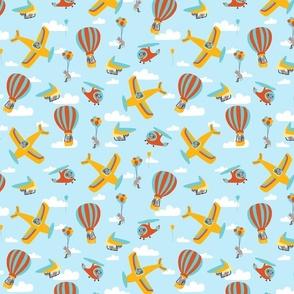 flying squirrels on light blue