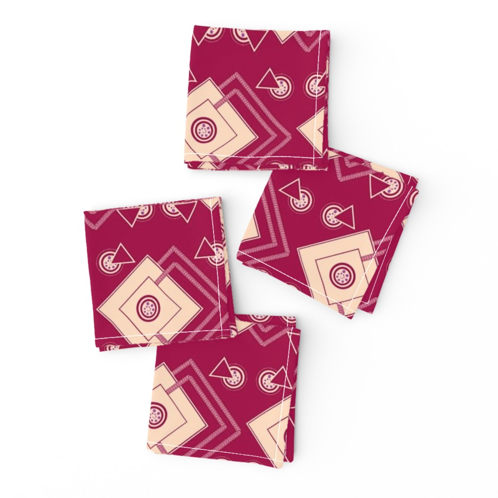 Frizzle Cocktail Napkins featuring geometric_intricate_ red,peach, purple by anino
