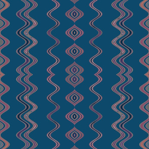 Navy Large Wavy Stripe © Gingezel™ 2013
