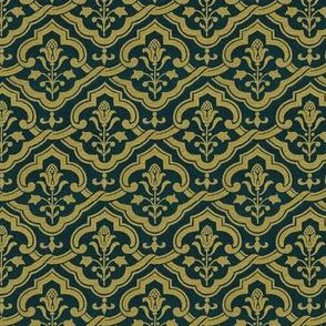 Renaissance wallpaper, gold on velvet