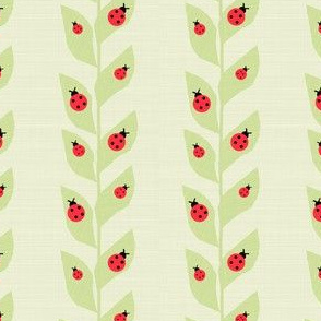 Red Ladybugs On Vine Green Background