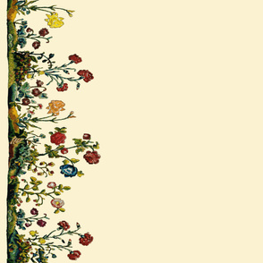 Floral Rococo skirt- or apron embroidery - white