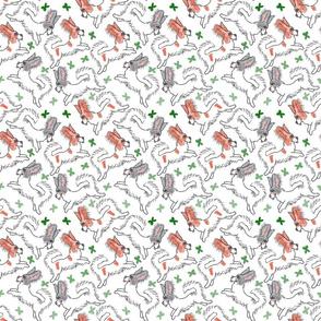 Toon Papillons chasing butterflies - green