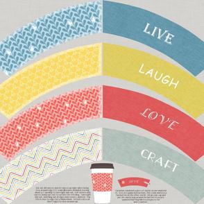 Crafty Coffee Cosies - Live, Laugh, Love, Craft