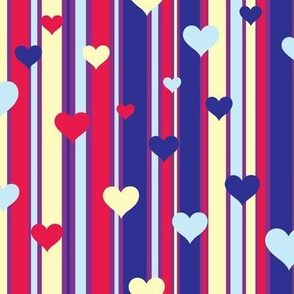 Lines and Hearts Purple and Ivory