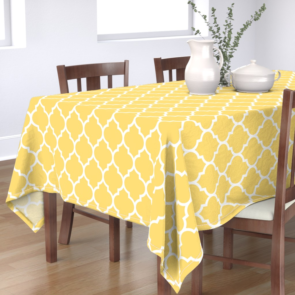 Bantam Rectangular Tablecloth featuring moroccan quatrefoil lattice in lemon yellow by spacefem