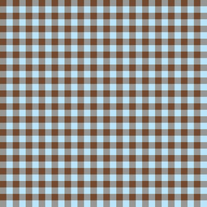 brown and sky blue gingham