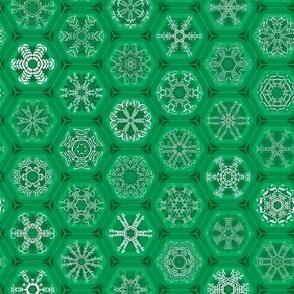 green snowflake mini-ornaments