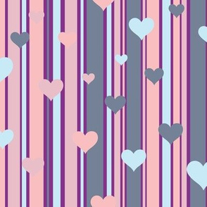 Stripes and Hearts Pink and Blue