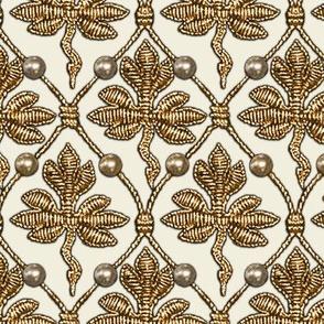 Elizabeth I. Phoenix Portrait Fabric- Cream/Gold - With Pearls