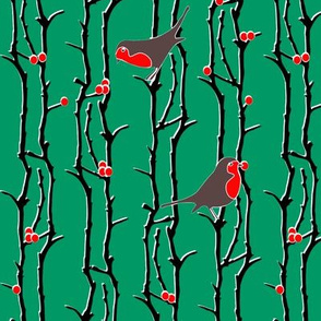 Robins in Branches - Green