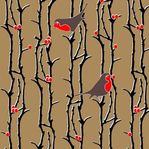 Robins in Branches - Brown
