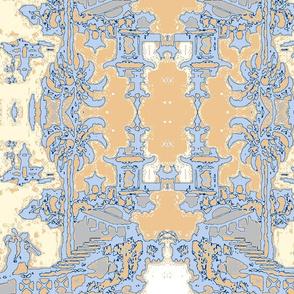 Escher pagoda bedroom blue & beige