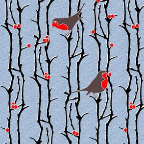 Robins in Branches - Light Denim