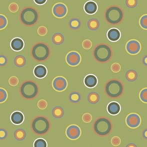 Faded Green Seventies Dots Pattern
