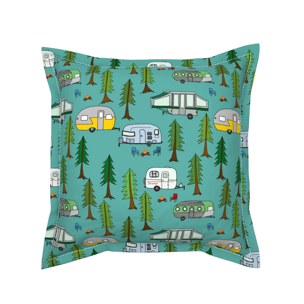 Serama Throw Pillow featuring campers_in_the_park by jeannemcgee