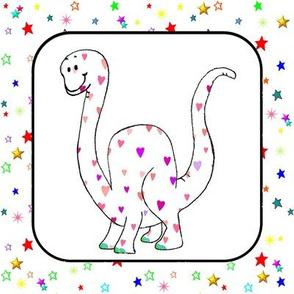 Dinosaur | Brachiosaurus Hearts & Stars Quilt Block
