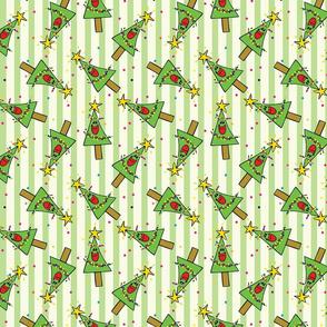 Smiling Christmas Trees Green