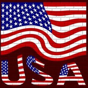 Wavy USA Flag & Name on Brick
