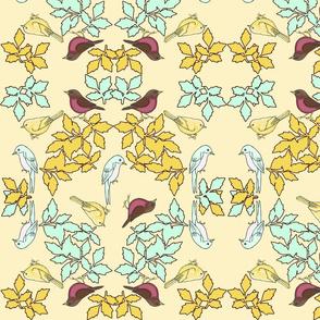 bird wreath yellow