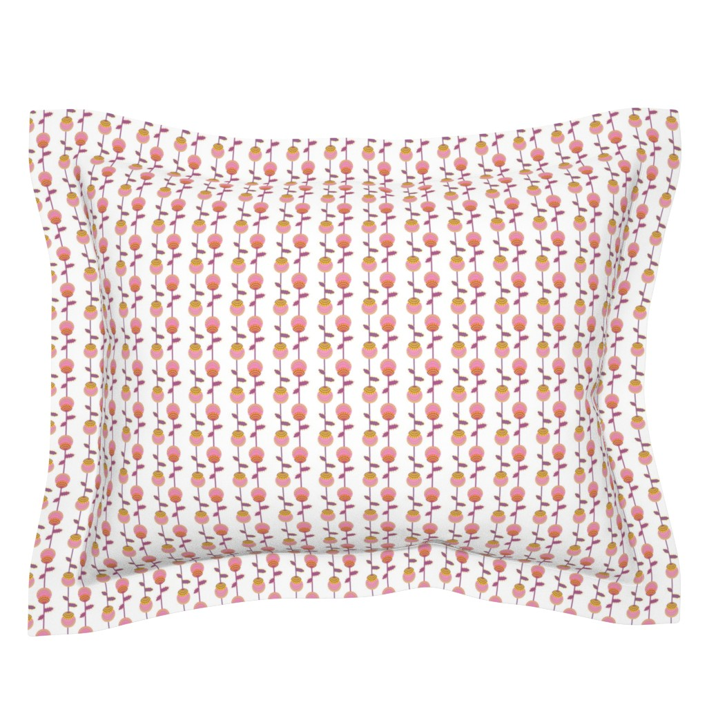 Sebright Pillow Sham featuring Thistle  - pink, purple and yellow by akwaflorell
