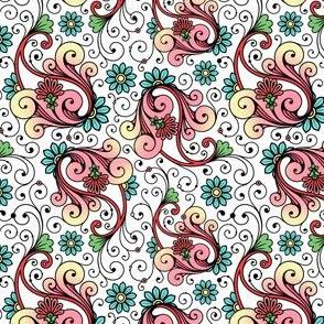 Floral Paisley Swirls