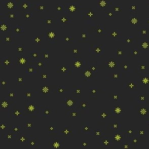 eight-bit stars in gold