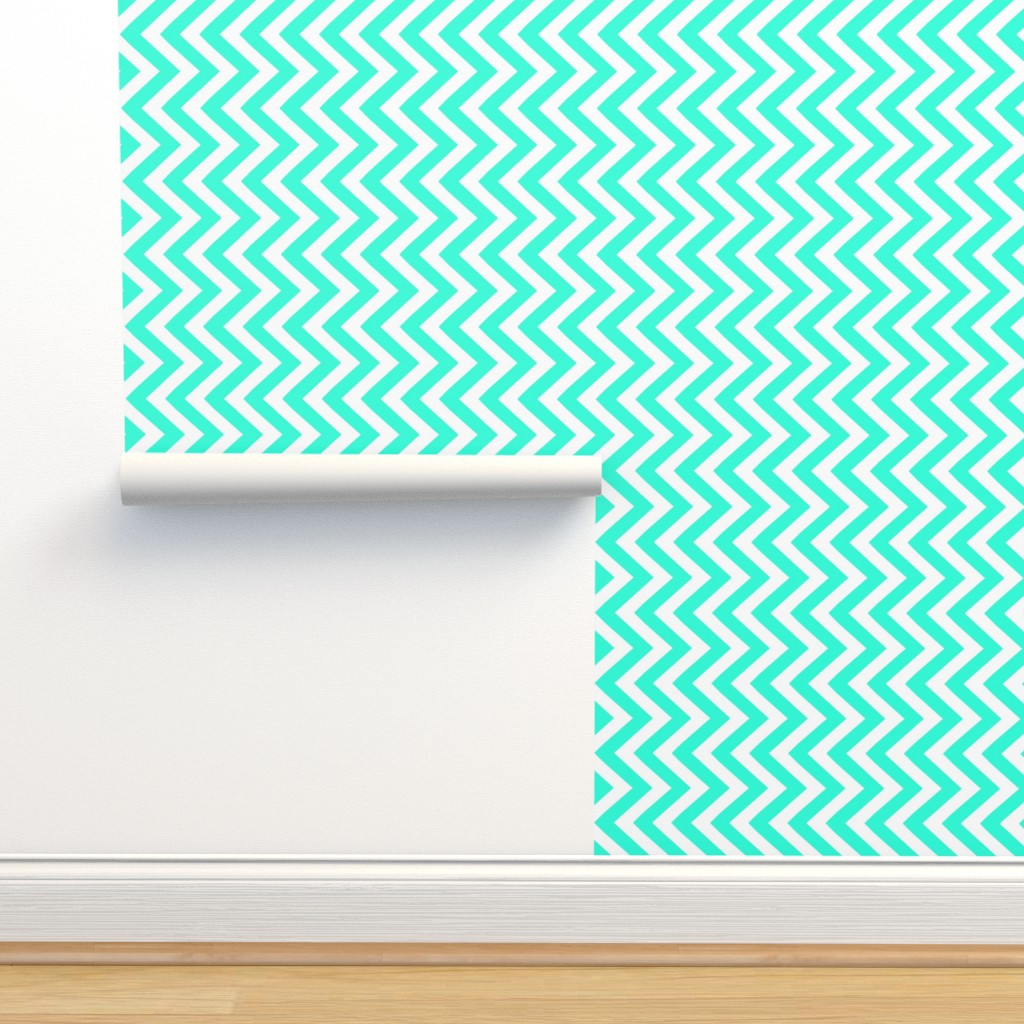 Isobar Durable Wallpaper featuring chevron teal by katarina