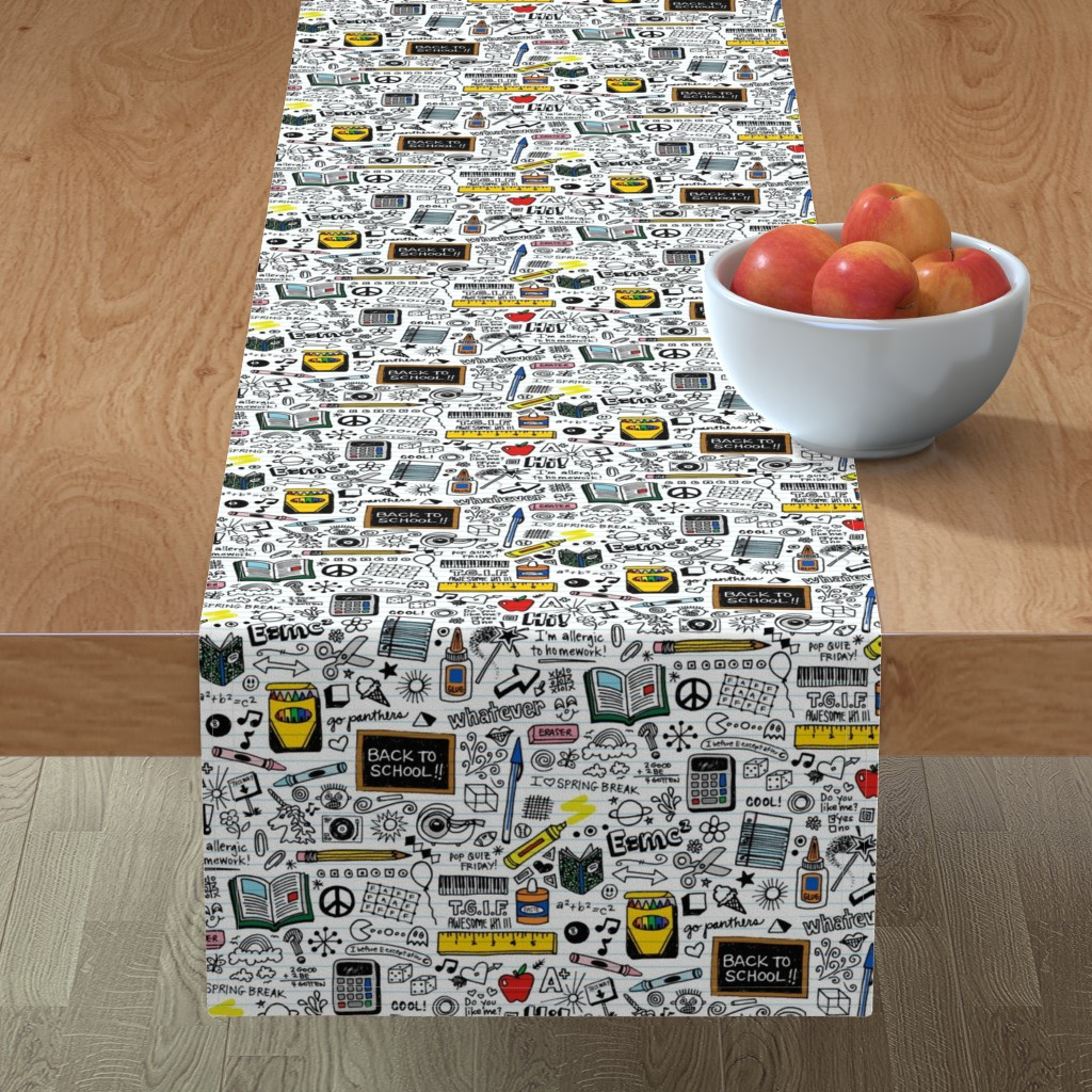 Minorca Table Runner featuring Doodled School Supplies || doodles graffiti children math science 80s pen pencil drawings notebook paper kids by pennycandy