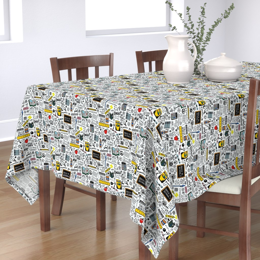 Bantam Rectangular Tablecloth featuring Doodled School Supplies || doodles graffiti children math science 80s pen pencil drawings notebook paper kids by pennycandy